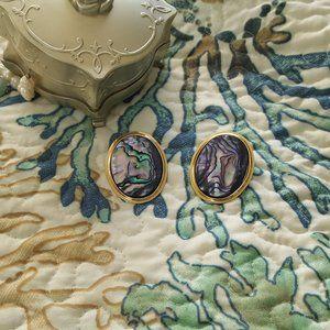 vintage blue oval abalone shell grandma earrings